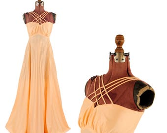 Vintage 1970's Pale Peach Cage Straps Empire Waist Pleated Grecian Goddess A-line Sweep Maxi Dress S