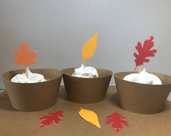 Thanksgiving Decorations / Thanksgiving Cupcake Toppers / Fall Leaf Cupcake Topper