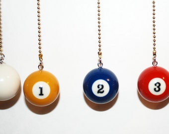 Unique Que Ball or 1 thur 15 Pool Ball Ceiling Fan/Light pull chain or Key Chain