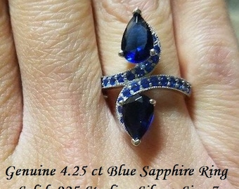 Genuine 4.25 ct Blue Sapphire Ring Size 7