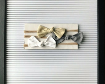 Neutral Knotted Bow Set