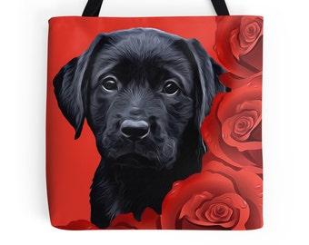 Black Lab 4BMV Tote Bag -  Labrador Tote - Black Lab Gifts - Dog Tote Bag - Grocery Bag - Grocery Tote Bag - Beach Bag - Black Lab Art