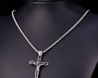 316L Stainless Steel Cross Crucifix Necklace and Chain for Men and Women