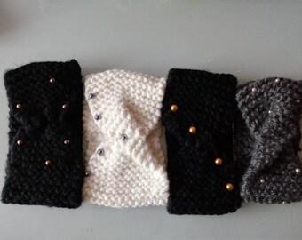 WOMAN wool HEADBAND - pearls