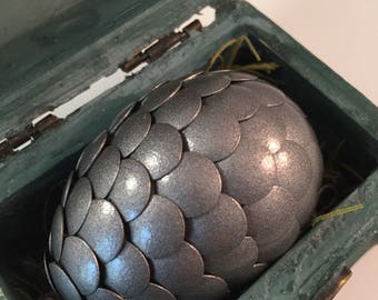 Dragon Egg with Box - Dragon Egg with Chest - Dragon Egg Decor - GoT Dragon Egg - PEWTER - Regal Style Box