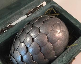 Dragon Egg with Box - Dragon Egg with Chest - Dragon Egg Decor - GoT Dragon Egg - PEWTER - Regal Style Box