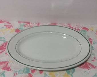 "Mid Century Buffalo China Niagra Green Stripe Platter 9"" x 13 1/2"""