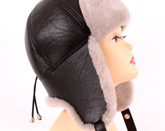Women's hat ear flaps of sheared sheepskin pink