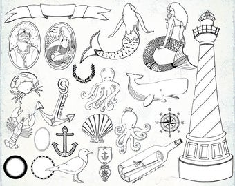 Nautical Digital Stamps, Mermaid Clip Art, Beach Wedding, Nautical Graphics for Stickers, PNG + Photoshop Brush, Doodles & Line Art