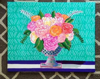 Bright Flowers in Vase Painting