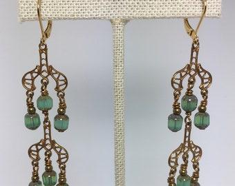 turquoise opal glass chandelier earrings