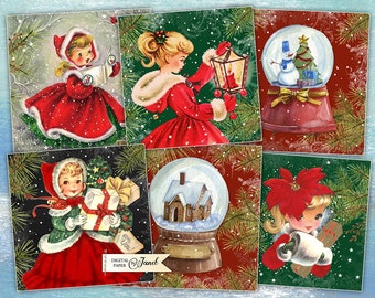 Holly Jolly - Christmas Cards - set of 6 - digital collage sheet - Printable Download