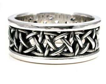 Sterling Silver Square Celtic Knot Wedding Ring - Mens Engagement