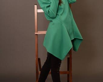 Winter Coat, Wool Coat, Hooded Coat, Asymmetrical Coats, Green Coats Women, Women Wool Coat, Winter Jacket, Black Hoodie, Danellys D17.07.02
