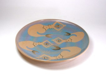 Mermaid Plate Pottery Serving Platter Tan Porcelain