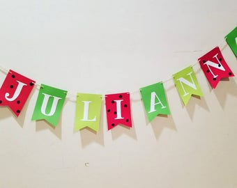 Red and green watermelon name banner,summer birthday banner,watermelon birthday party banner,watermelon birthday banner,one in a melon