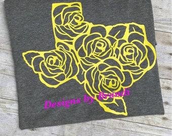 Yellow rose of Texas shirt // ladies shirt // Texas shirt // womens shirt