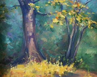 Plein air landscape painting, Original oil painting, tree woods painting, 12*16 inch by Nadia Gurkova