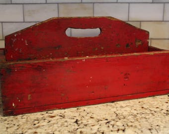 Large Vintage Farmhouse Chippy Red Paint Tool Box Caddy Case Centerpiece Organizer