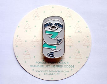 Cute Sleepy Smiling GRAY Sloth Enamel Pin Badge Sloth Pin Brooch Kawaii Sloth Broach Sloth Theme Gifts Stocking Stuffers GRAY Slothful One