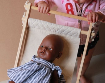 Wooden & Calico Dolls Stroller, Pram, Role Play. Baby and Kids Toys. Indoor/ Outdoor.