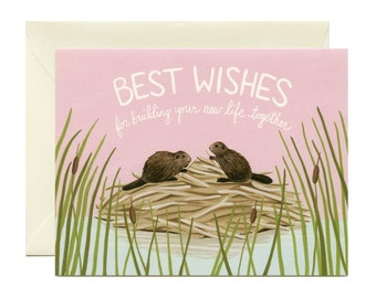 """Beavers Building A Home Wedding Card - """"Best Wishes For Building Your New Life Together"""" - ID: WED110"""