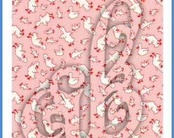 Digital Image of Vintage Fabric, Pink with White Ducks and Geese. Great for Background!