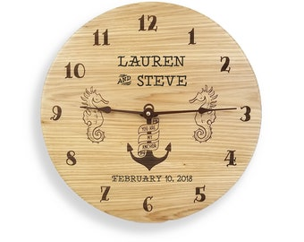Wedding gift, gift for couples, anniversary gift, wedding clock, anniversary clock, personalized clock, hickory clock, engraved