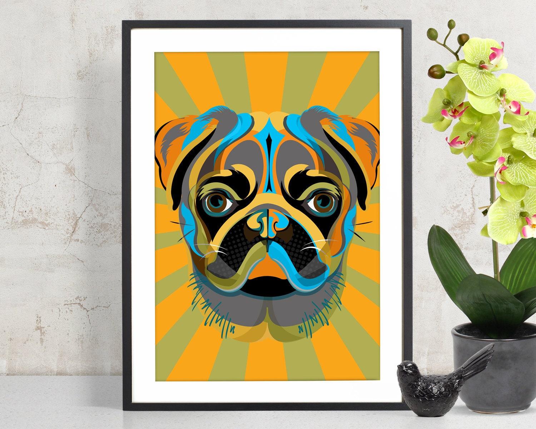 PUG Art Print Poster Pet Decor Pug Wall Art Dog Decor