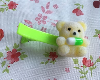 Menhera Green and Yellow Bear with Pill Hair Clip