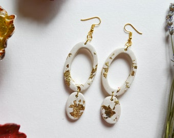 White Oval Drop Earrings with Gold Leaf Accents