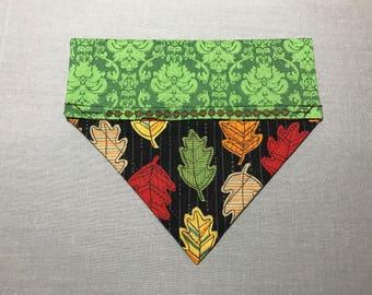 Fall leaf reversible over the collar bandana