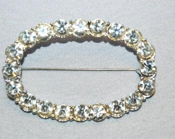 Large Rhinestone Brooch, Clear Rhinestone Brooch, Silver Tone, Vintage old jewelry