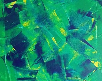 "Green, Yellow, Blue Original Acrylic Abstract Painting on Canvas ""Series 2 XII"" 16x20"" Wall Art Decor, Wall Hanging, Unconventional, Modern"