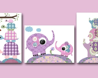 Baby Gift Elephant Nursery Wall Decor Turtle Wall Decor Baby Girl Nursery Decor Childrens Art Print Baby Nursery Print set of 3 Purple