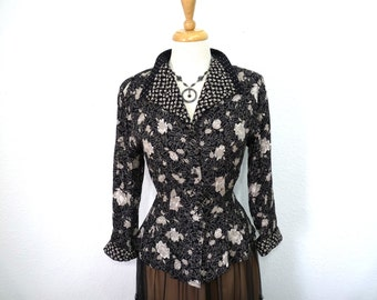 Vintage 40s blouse floral print Button front Long sleeve Rayon Blouse Size S/M