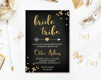 Bride Tribe Bachelorette Invitation - Black & Gold Confetti Arrow Bachelorette Party Invitation - Boho Tribal Printable Invite