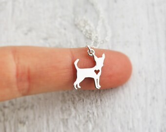 Tiny Dog Necklace - Chihuahua Necklace - Chihuahua Lover Gift - Sterling Silver Chihuahua -Delicate Necklace - Dainty Pet Memory Necklace