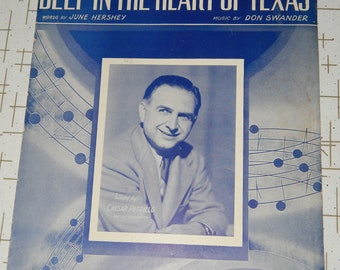 """Vintage Sheet Music """"Deep in the Heart of Texas"""""""