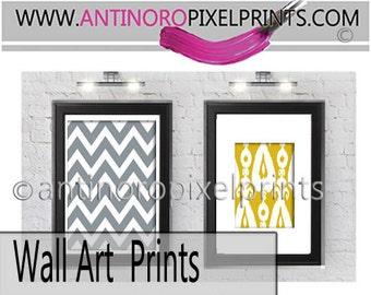 Art Damask Ikat Mustard Yellow Grey Set of (2) Wall Art Prints, (1) 8x10 (1) 4x6 Prints - (UNFRAMED) #288444387
