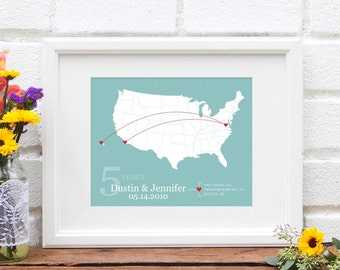 Personalized US Map, Anniversary Gift, Custom United States Travel Map, Military Family, Road Trip or Traveling Couple, Newlyweds Together
