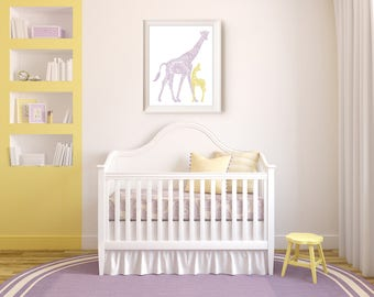 Giraffe Baby and Mom Nursery Print, Custom Henna Illustration, Printable Nursery Art Decor, Mother and Baby Giraffe