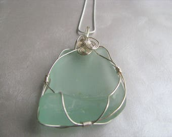 Large Aqua Blue Sea Glass Pendant - Silver Wire Beach Glass Pendant - Aqua Sea Glass -Silver Wire Wrapped-Beach Glass Jewelry-Ocean Jewelry