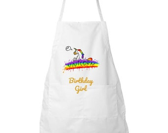 Unicorn Girls Birthday Party BBQ Apron Gifts For Her