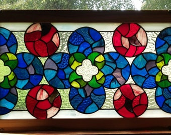 Gothic style stained glass panel, measures 15'' x 24 1/2'', free shipping