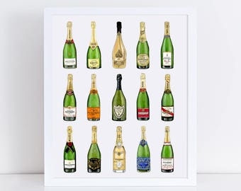 Champagne Art Print - Champagne Bottle Art - Dom Perignon Art Print - Wine Art - French Art - Valentine's Day Gift