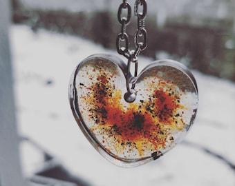 Paprika & Pepper Heart Resin Pendant