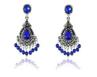 Blue/Tibetan Silver Chandelier Crystal Long Earrings for Women