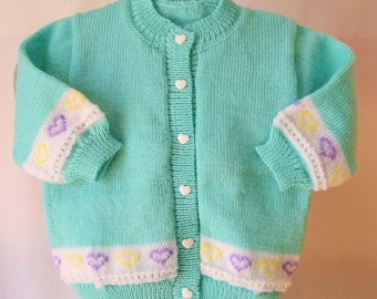 Wool knit with heart turquoise baby Cardigan.