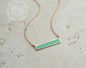 Rose Gold Bar Necklace, Turquoise Bar Necklace, delicate Turquoise Necklace, simple turquoise necklace, rose gold turquoise necklace